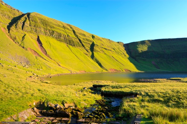 Llyn y Fan Fach is in the Black Mountain range, the most westerly of the Brecon Beacons' uplands