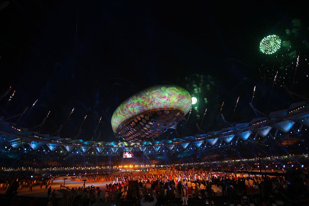 NEW DELHI, INDIA - OCTOBER 3, 2010: Opening ceremony of Commonwealth Games opening ceremony of the Commonwealth Games in New Delhi , October 3, 2010. (Photo by Manoj Patil/Hindustan Times via Getty Images)