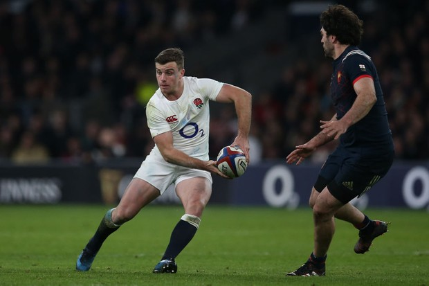 6b077674266 LONDON, ENGLAND - FEBRUARY 04: George Ford of England passes the ball  during the