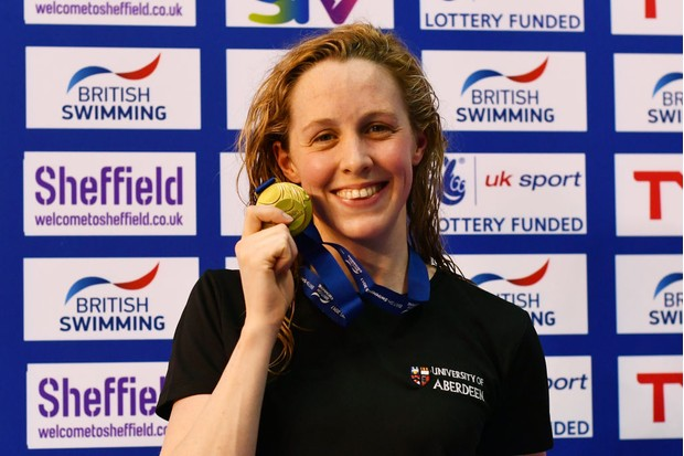 SHEFFIELD, ENGLAND - APRIL 18: Gold medalist Hannah Miley of Aberdeen Per poses with the medal won in the Womens Open 400m IM final on day one of the British Swimming Championships at Ponds Forge on April 18, 2017 in Sheffield, England. (Photo by Dan Mullan/Getty Images)