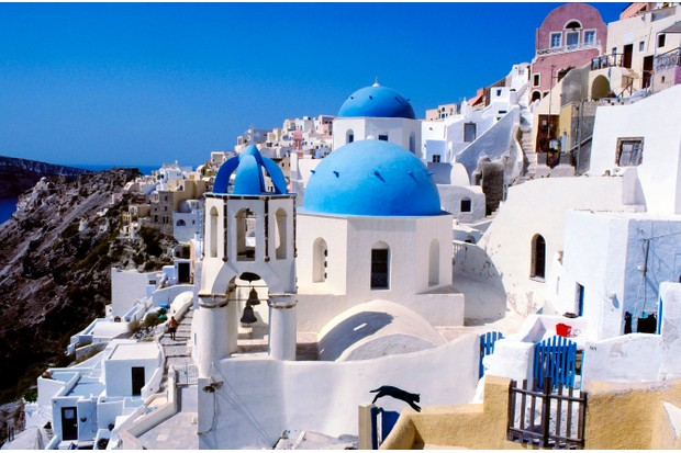 Santorini is famous for its blue-domed churches