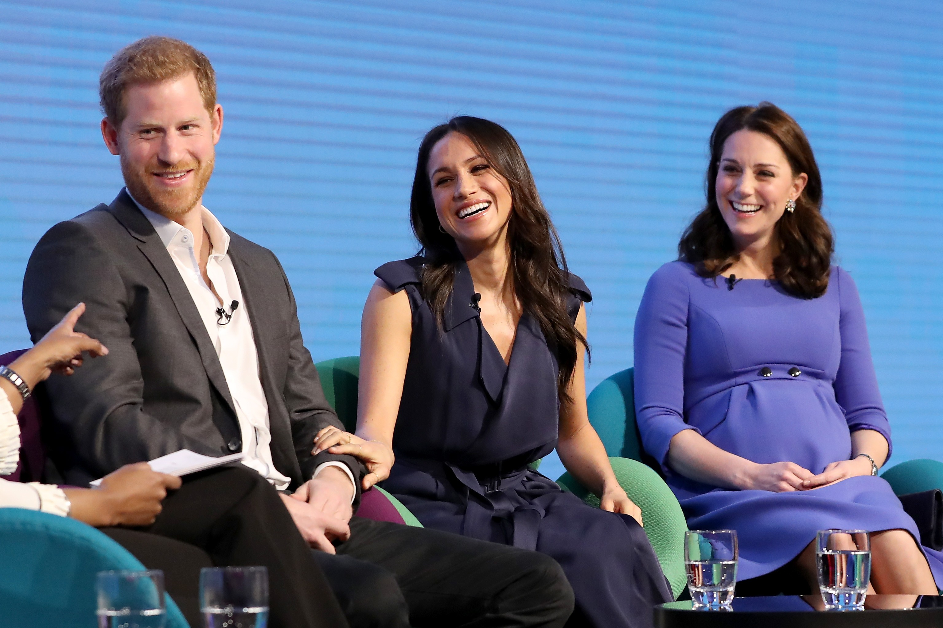 LONDON, ENGLAND - FEBRUARY 28:  Prince Harry, Meghan Markle and Catherine, Duchess of Cambridge attend the first annual Royal Foundation Forum held at Aviva on February 28, 2018 in London, England. Under the theme 'Making a Difference Together', the event will showcase the programmes run or initiated by The Royal Foundation.  (Photo by Chris Jackson - WPA Pool/Getty Images)  Getty, TL