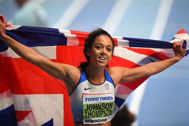BIRMINGHAM, ENGLAND - MARCH 02: Katarina Johnson-Thompson of Great Britain celebrates winning the Women's Pentathlon during Day Two of the IAAF World Indoor Championships at Arena Birmingham on March 2, 2018 in Birmingham, England. (Photo by Tony Marshall/Getty Images)