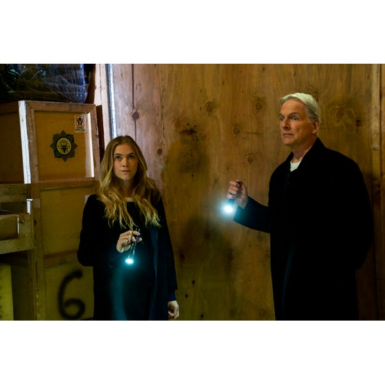 """LOS ANGELES - FEBRUARY 2: """"One Man's Trash"""" -  Gibbs and Ducky see an antique war stick on television that could be the missing murder weapon to a 16-year-old cold case, on NCIS, Tuesday, March 13 (8:00-9:00 PM, ET/PT) on the CBS Television Network. Mike Wolfe of """"American Pickers""""? guest stars as himself. Pictured: Mark Harmon, Emily Wickersham.   (Photo by Monty Brinton/CBS via Getty Images)  Getty, TL"""