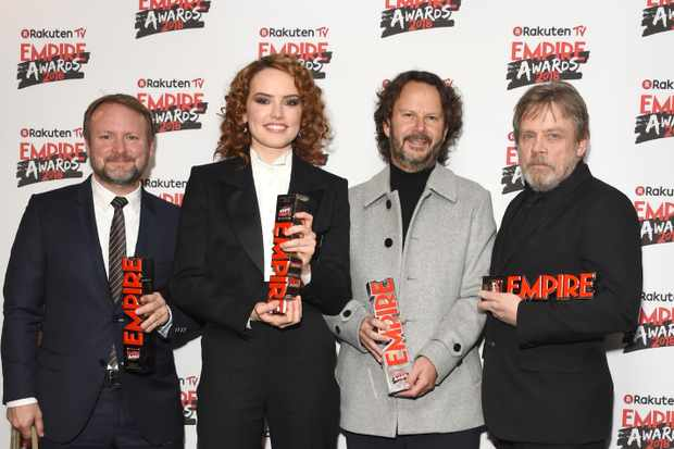 Rian Johnson, Daisy Ridley, Ram Bergman and Mark Hamill at the Empire Awards 2018 (Getty, EH)