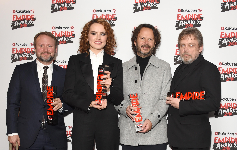 Rian Johnson, Daisy Ridley, Ram Bergman and Mark Hamill at the Empire Awards 2018 (Getty, EH)