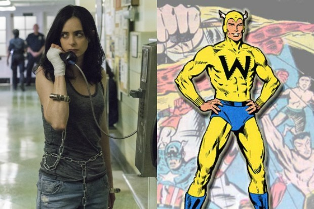 Jessica Jones (Krysten Ritter) and The Whizzer (Marvel, Netflix, HF)