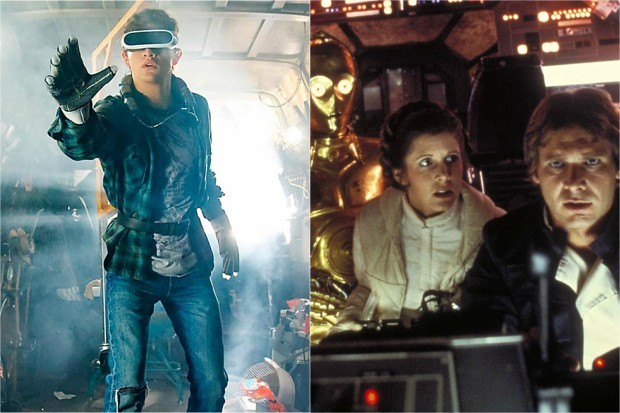 Tye Sheridan in Ready Player One, Carrie Fisher, Harrison Ford and Anthony Daniels in Star Wars (Warner Bros, Lucasfilm, HF)