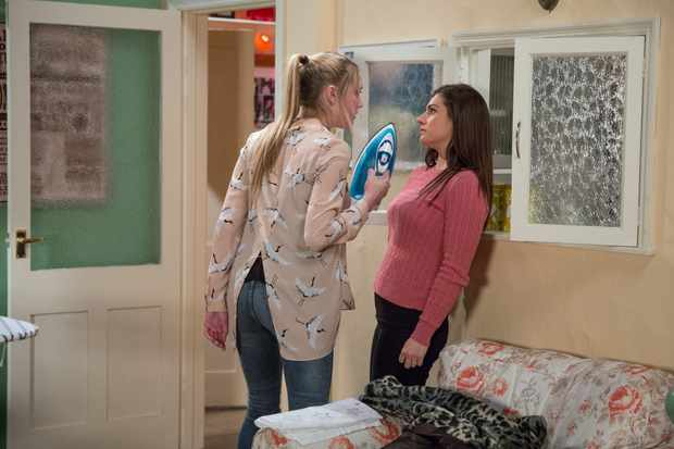 Victoria is delighted when Rebecca returns to Keeper's Cottage. Rebecca is adamant that Robert doesn't need to know, worried that Seb will be taken from her. She ferociously brandishes an iron at a terrified Victoria.