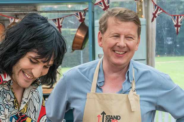 Bill with Noel Fielding on Great British Bake Off: Stand To Cancer