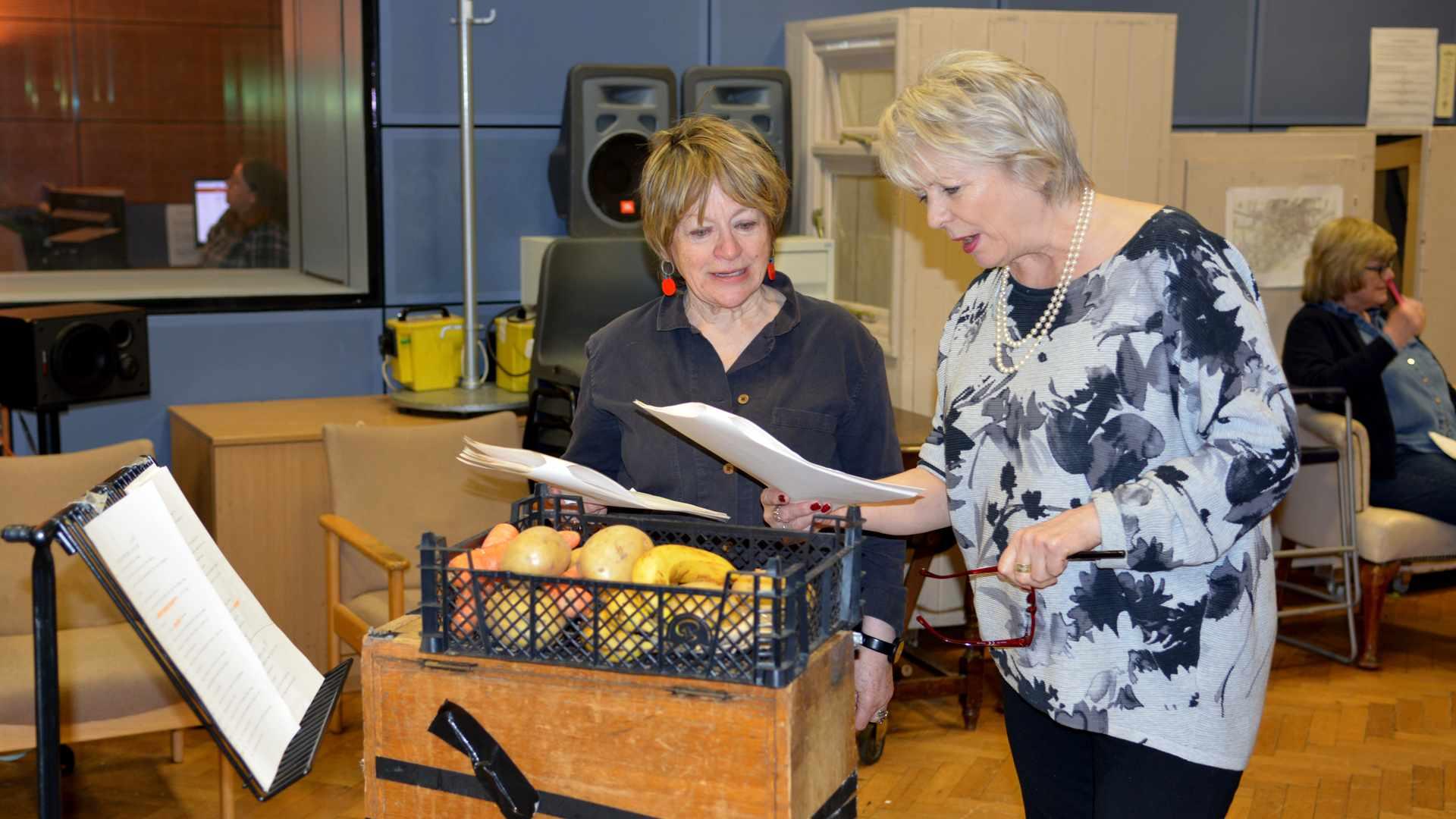 Sheila Dillon and Alison Steadman in Ambridge_credit BBC (3)