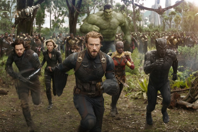 War Machine (Don Cheadle), Winter Soldier/Bucky Barnes (Sebastian Stan), Black Widow/Natasha Romanoff (Scarlet Johansson), Captain America/Steve Rogers (Chris Evans), Hulk (Mark Ruffalo), Okoye (Danai Gurira), Falcon (Anthony Mackie) and Black Panther/T'Challa (Chadwick Boseman) in Avengers: Infinity War (Marvel, HF)