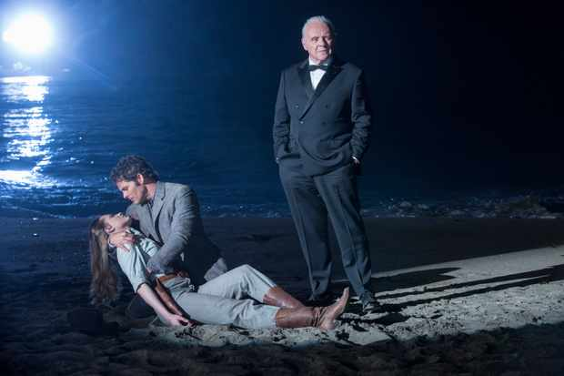 Evan Rachel Wood as Dolores, James Marsden as Teddy Flood, Anthony Hopkins as Dr Robert Ford  Sky, TL