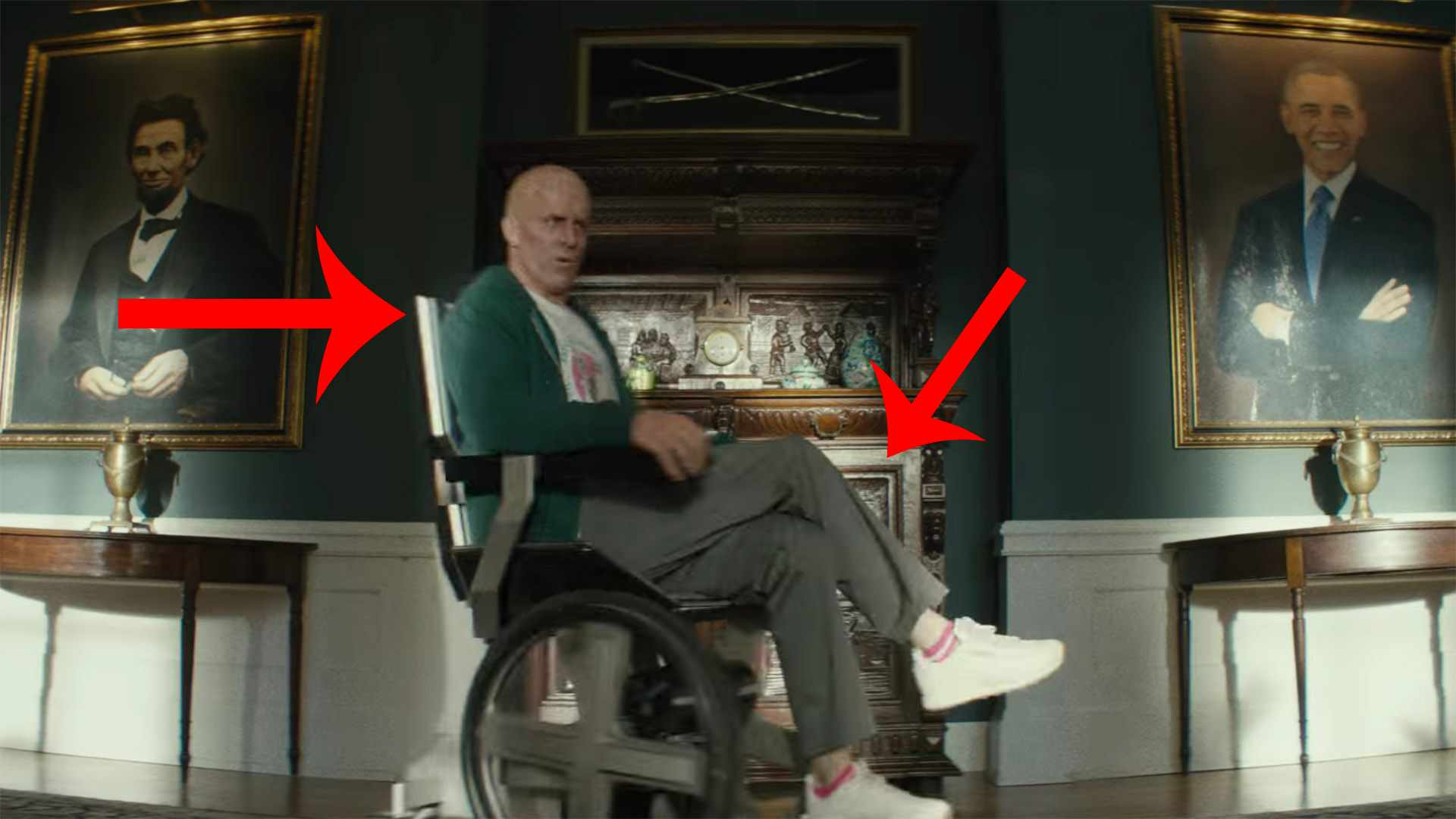 Ryan Reynolds sits in Professor X's wheelchair in the Deadpool 2 trailer