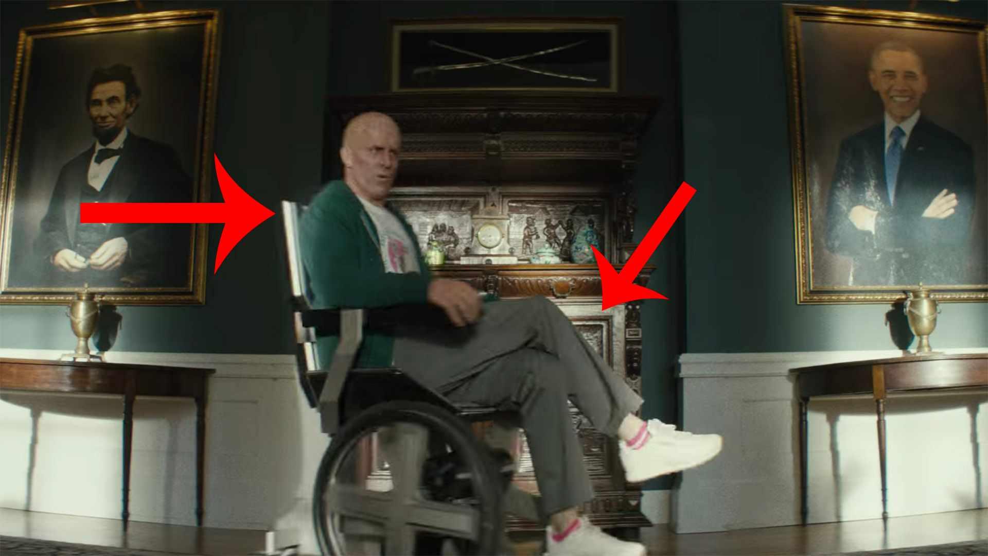 Ryan Reynolds sits in Professor X's wheelchair in the Deadpool 2 trailer