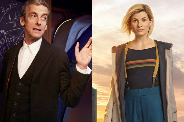 Peter Capaldi and Jodie Whittaker in character in Doctor Who (BBC, HF)