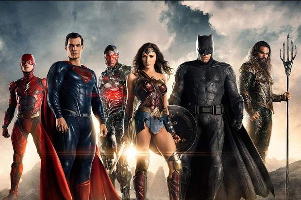 Justice League cast including Henry Cavill (Superman), Ben Affleck (Batman), Gal Gadot (Wonder Woman) and Jason Momoa (Aquaman)