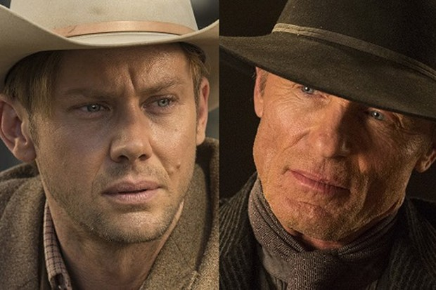 Jimmi Simpson as WIlliam and Ed Harris as The Man in Black in Westworld (Sky, HF)
