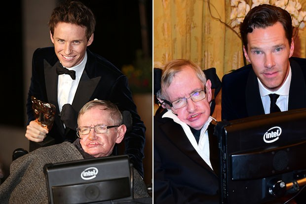 Eddie Redmayne and Benedict Cumberbatch with Stephen Hawking, Getty, SL
