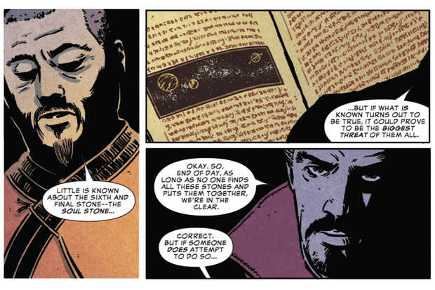 A series of panels from Infinity War's prelude comic (Marvel, HF)
