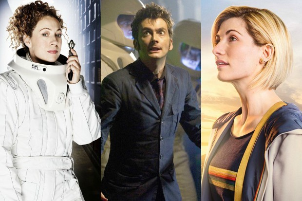 Alex Kingston's River Song, David Tennant's Tenth Doctor and Jodie Whittaker's Thirteenth Doctor in Doctor Who (BBC, HF)