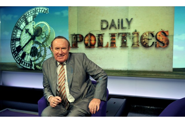 WARNING: Embargoed for publication until 03/01/2012 - Programme Name: Daily Politics - TX: 09/01/2012 - Episode: Daily Politics (No. n/a) - Picture Shows: Andrew Neil presents Daily Politics on Friday. Andrew Neil - (C) BBC - Photographer: Jeff Overs