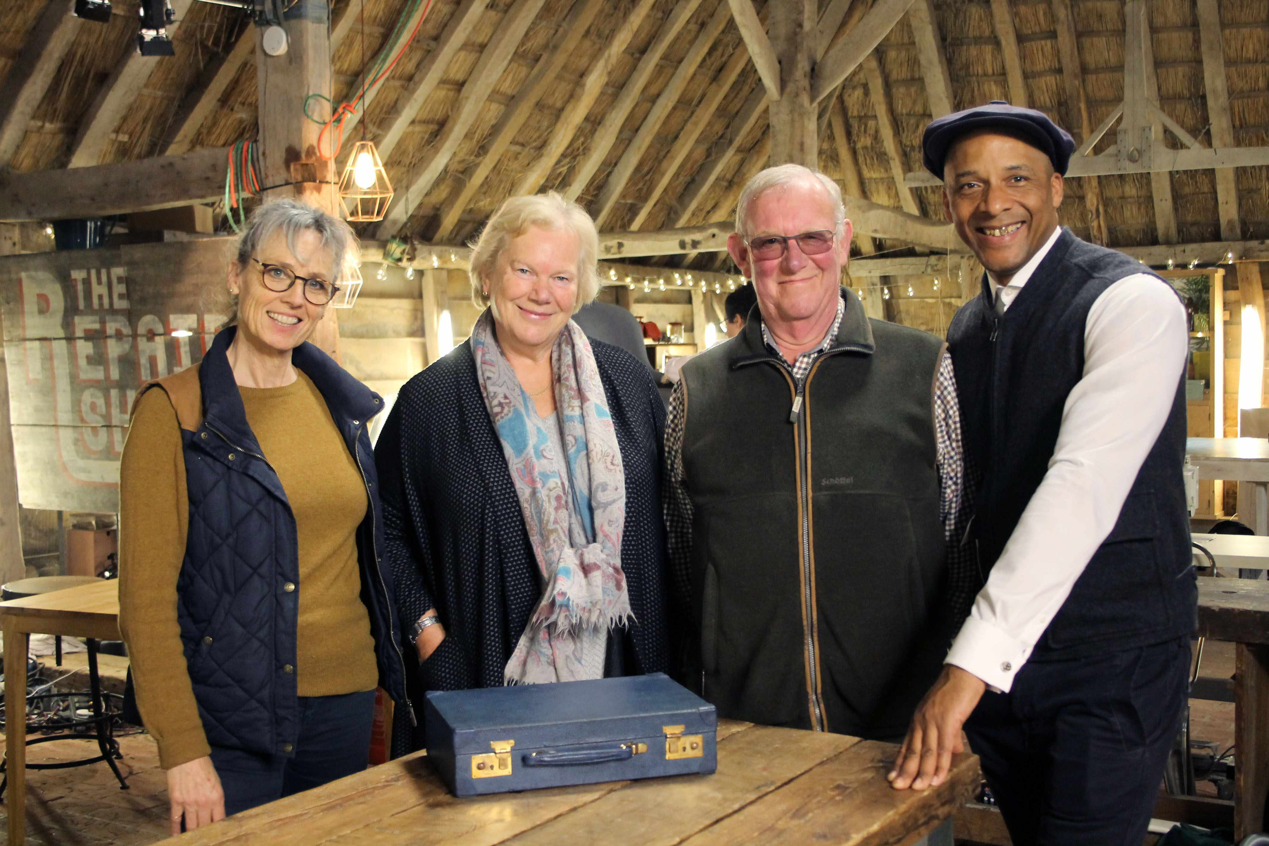 Programme Name: The Repair Shop S2 - TX: n/a - Episode: n/a (No. 15) - Picture Shows: with repaired writing case. Suzie Fletcher, Sally, David, Jay Blades - (C) Ricochet Ltd - Photographer: Ricochet  BBC, TL