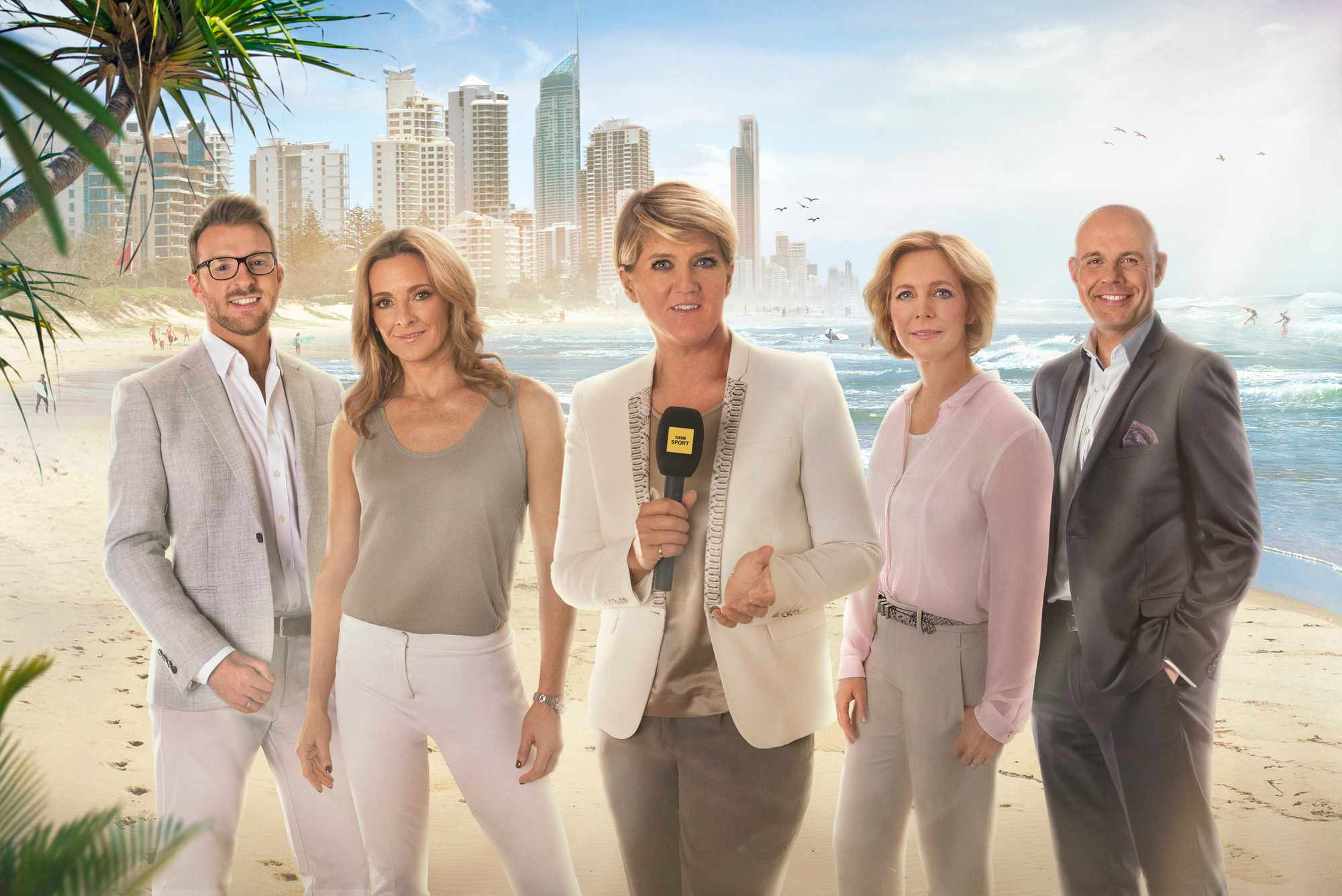 Programme Name: Gold Coast 2018 Commonwealth Games - TX: 04/04/2018 - Episode: Gold Coast 2018 Commonwealth Games (No. n/a) - Picture Shows:  JJ Chalmers, Gabby Logan, Clare Balding, Hazel Irvine, Jason Mohammad - (C) BBC - Photographer: Adrian Myers