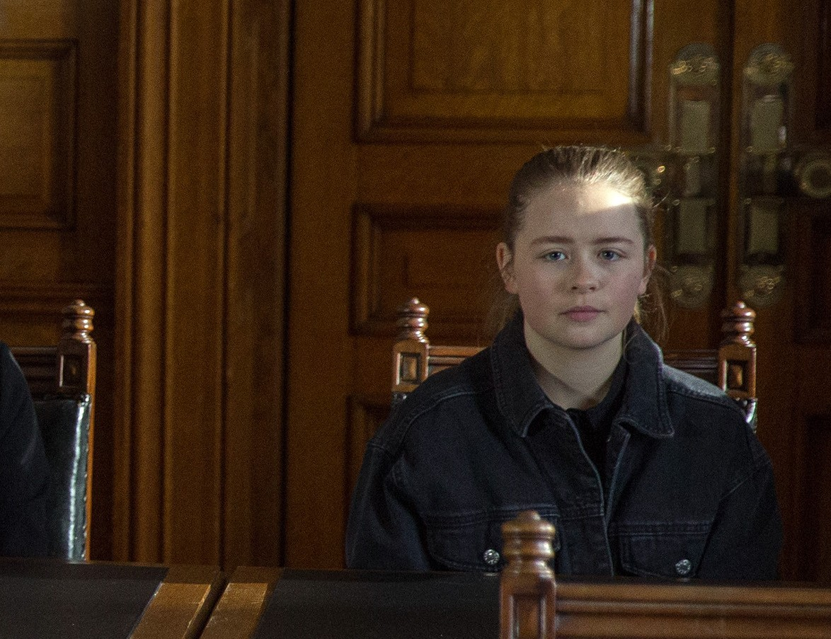 FROM ITV STRICT EMBARGO Print media - No Use Before Tuesday 10th April 2018Online Media -  No Use Before 0700hrs Tuesday 10th April 2018Emmerdale - Ep 8124Monday 16th April 2018At court, Liv's [ISOBEL STEELE] new solicitor arrives and everyone's thrown when he won't allow Lisa to speak on her behalf. Liv's barely holding it together as she and Gabby Thomas [ROSIE BENTHAM] are called in. In the courtroom, Gabby's defence gives a convincing speech as Liv's solicitor sifts through his notes, clearly not up to speed. Liv's left boiling when he gets her name wrong and mentions Gordon. Gabby gives a repentant apology, but an upset Liv can't bring herself to speak up.  Will both girls get the same justice?Picture contact - david.crook@itv.comPhotographer - Amy BrammallThis photograph is (C) ITV Plc and can only be reproduced for editorial purposes directly in connection with the programme or event mentioned above, or ITV plc. Once made available by ITV plc Picture Desk, this photograph can be reproduced once only up until the transmission [TX] date and no reproduction fee will be charged. Any subsequent usage may incur a fee. This photograph must not be manipulated [excluding basic cropping] in a manner which alters the visual appearance of the person photographed deemed detrimental or inappropriate by ITV plc Picture Desk. This photograph must not be syndicated to any other company, publication or website, or permanently archived, without the express written permission of ITV Plc Picture Desk. Full Terms and conditions are available on the website www.itvpictures.com