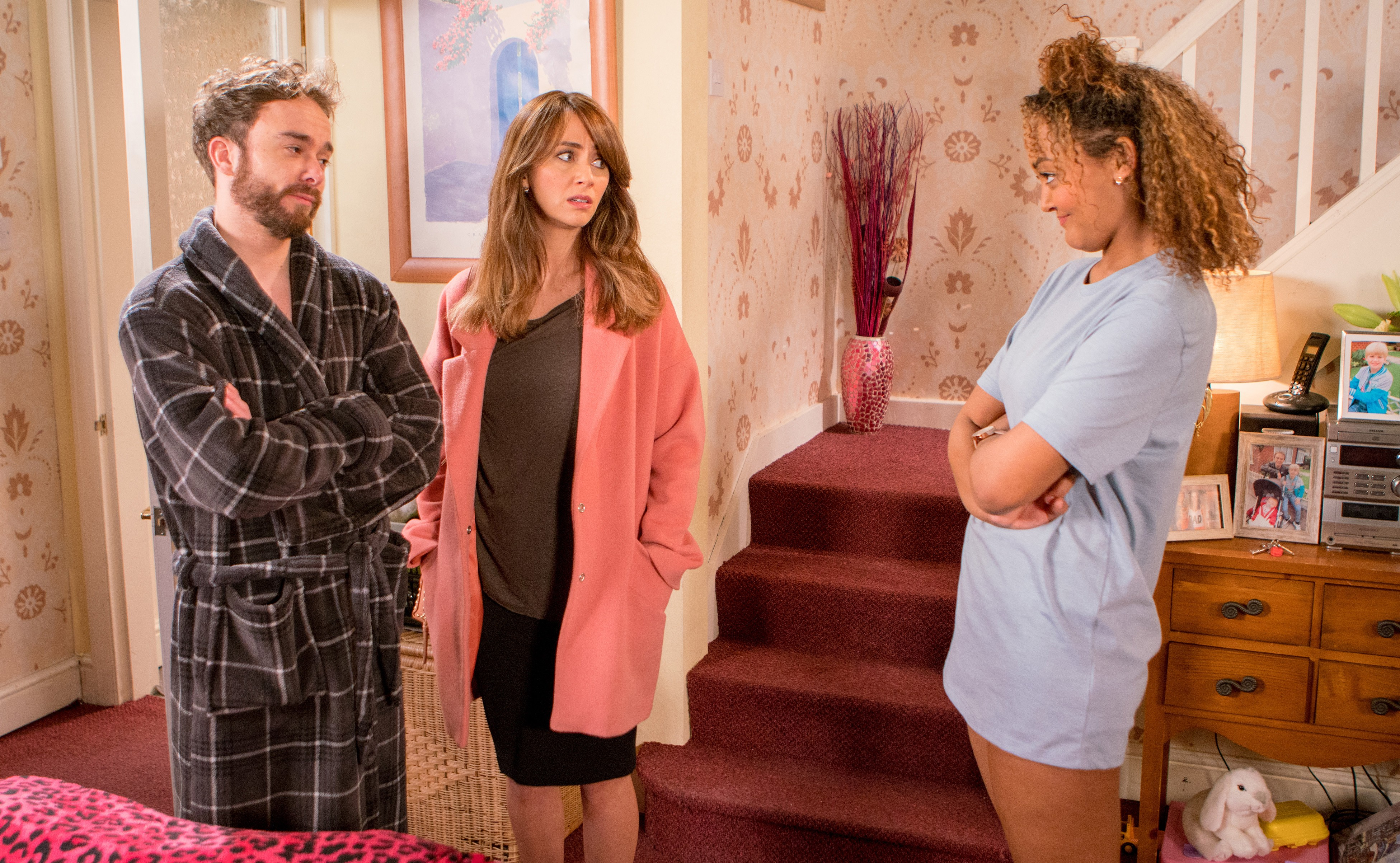 FROM ITV STRICT EMBARGO - No Use Before Tuesday 17th April 2018Coronation Street -  Ep 9438Monday 23rd April 2018 - 2nd EpMaria Connor [SAMIA LONGCHAMBON] arrives at the house to find Emma Brooker ALEXANDRA MARDELL] in a state of undress, shocked Maria makes a swift exit. David Platt [JACK P SHEPHERD] gives Emma a set of keys and asks her to move in!Picture contact - david.crook@itv.comPhotographer - Andrew BoyceThis photograph is (C) ITV Plc and can only be reproduced for editorial purposes directly in connection with the programme or event mentioned above, or ITV plc. Once made available by ITV plc Picture Desk, this photograph can be reproduced once only up until the transmission [TX] date and no reproduction fee will be charged. Any subsequent usage may incur a fee. This photograph must not be manipulated [excluding basic cropping] in a manner which alters the visual appearance of the person photographed deemed detrimental or inappropriate by ITV plc Picture Desk. This photograph must not be syndicated to any other company, publication or website, or permanently archived, without the express written permission of ITV Plc Picture Desk. Full Terms and conditions are available on the website www.itvpictures.com