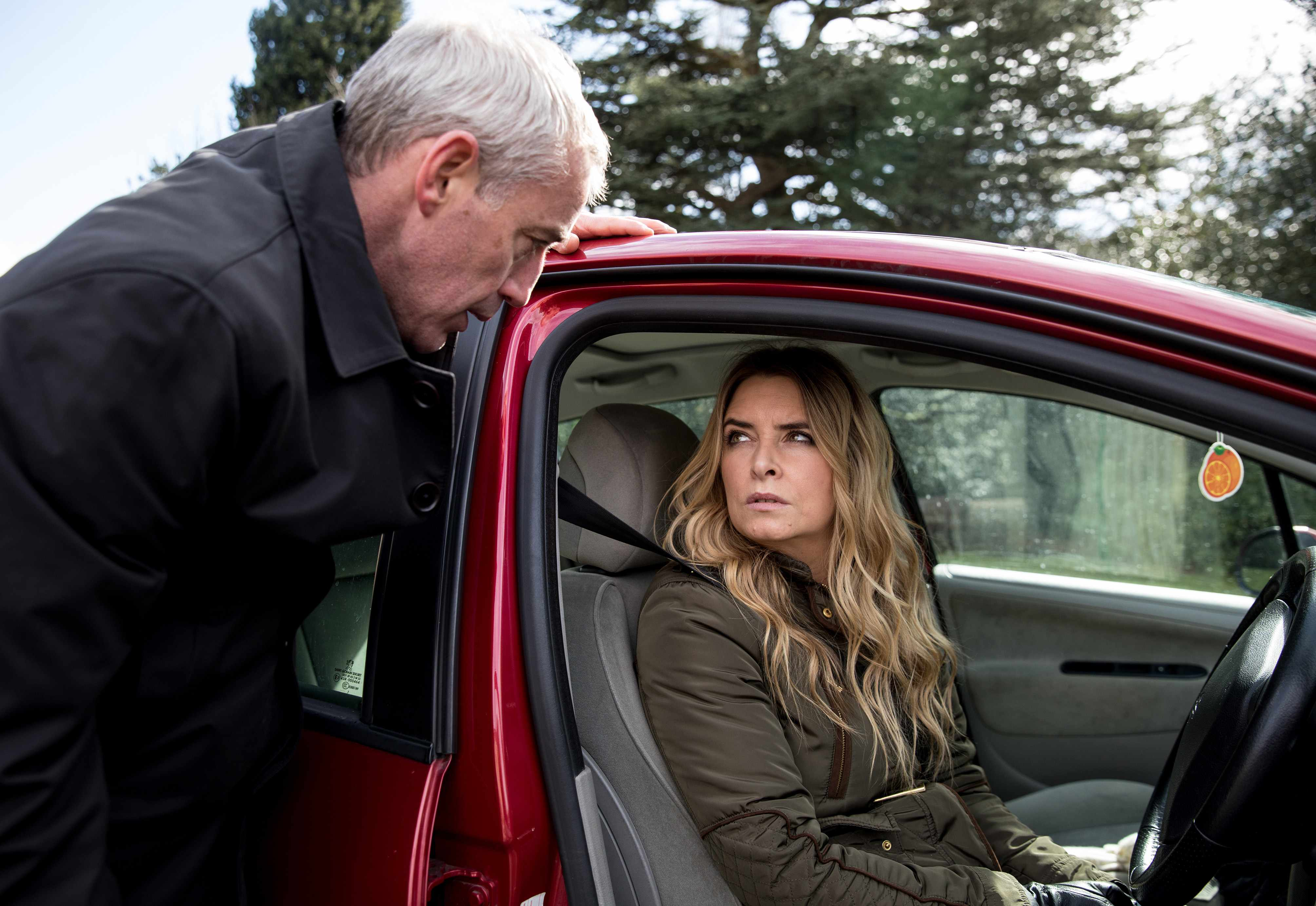 FROM ITV   STRICT EMBARGO - No Use Before Tuesday 17th April 2018  Emmerdale - Ep 8134  Thursday 26th April 2018 - 2nd ep  Bails [ROCKY MARSHALL] makes Charity Charity Dingle [EMMA ATKINS] a proposition which leaves her gobsmacked   Picture contact - david.crook@itv.com  Photographer - Amy Brammall  This photograph is (C) ITV Plc and can only be reproduced for editorial purposes directly in connection with the programme or event mentioned above, or ITV plc. Once made available by ITV plc Picture Desk, this photograph can be reproduced once only up until the transmission [TX] date and no reproduction fee will be charged. Any subsequent usage may incur a fee. This photograph must not be manipulated [excluding basic cropping] in a manner which alters the visual appearance of the person photographed deemed detrimental or inappropriate by ITV plc Picture Desk. This photograph must not be syndicated to any other company, publication or website, or permanently archived, without the express written permission of ITV Plc Picture Desk. Full Terms and conditions are available on the website www.itvpictures.com