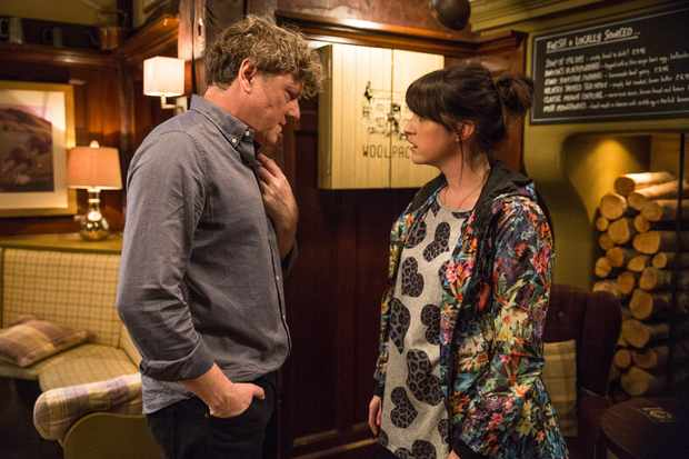 FROM ITV   STRICT EMBARGO - No Use Before Tuesday 17th April 2018  Emmerdale - Ep 8136  Friday 27th April 2018  After a drunken night in the pub, a drunken and wretched Daz Spencer [MARK JORDAN] lets slip a secret to Kerry Wyatt [LAURA NORTON].   Picture contact - david.crook@itv.com  Photographer - Amy Brammall  This photograph is (C) ITV Plc and can only be reproduced for editorial purposes directly in connection with the programme or event mentioned above, or ITV plc. Once made available by ITV plc Picture Desk, this photograph can be reproduced once only up until the transmission [TX] date and no reproduction fee will be charged. Any subsequent usage may incur a fee. This photograph must not be manipulated [excluding basic cropping] in a manner which alters the visual appearance of the person photographed deemed detrimental or inappropriate by ITV plc Picture Desk. This photograph must not be syndicated to any other company, publication or website, or permanently archived, without the express written permission of ITV Plc Picture Desk. Full Terms and conditions are available on the website www.itvpictures.com