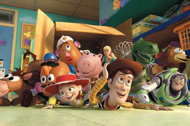 TOY STORY 3  (L-R) Bullseye, Mr. Potato Head, Mrs. Potato Head, Jessie, Hamm, Barbie, Woody, Rex, Slinky Dog, Buzz Lightyear,  Aliens   ©Disney/Pixar.  All Rights Reserved.  Sky pics, TL