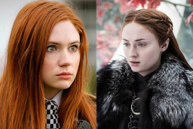 Karen Gillan as Amy Pond in Doctor Who, and Sophie Turner as Sansa Stark in Game of Thrones (BBC, HBO, HF)