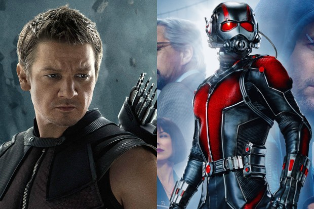Jeremy Renner as Hawkeye and Paul Rudd as Ant-Man (Marvel, HF)