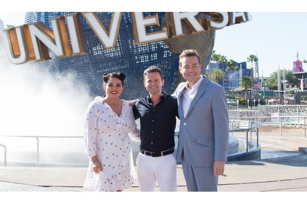 Declan Donnelly, Scarlett Moffatt and Stephen Mulhern on Saturday Night Takeaway