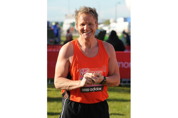 LONDON, ENGLAND - APRIL 22: Gordon Ramsay poses for the camera during the Virgin London Marathon 2012 on April 22, 2012 in London, England. (Photo by Christopher Lee/Getty Images)