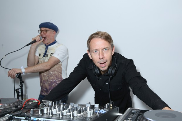 LONDON, ENGLAND - OCTOBER 12: Earl Zinger and Gilles Peterson attend a Contemporary Art party hosted by Tommy Hilfiger, Dylan Jones and Sotheby's at Sotheby's on October 12, 2015 in London, England. (Photo by Darren Gerrish/WireImage)