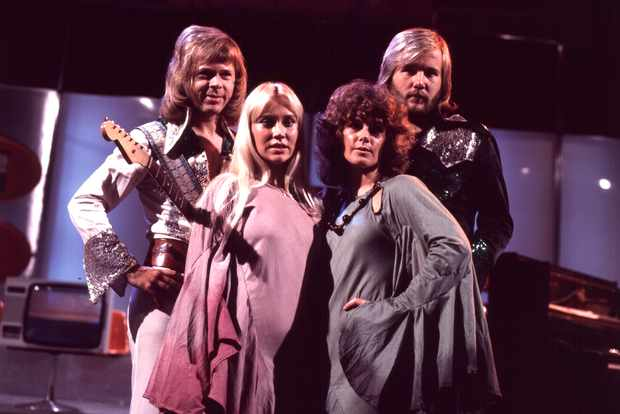 Björn Ulvaeus, Agnetha Fältskog, Anni-Frid (Frida) Lyngstad, Benny Andersson(v.l.n.re., Musikgruppe: 'ABBA'), Live-Auftritt, Deutschland, Europa, Gita