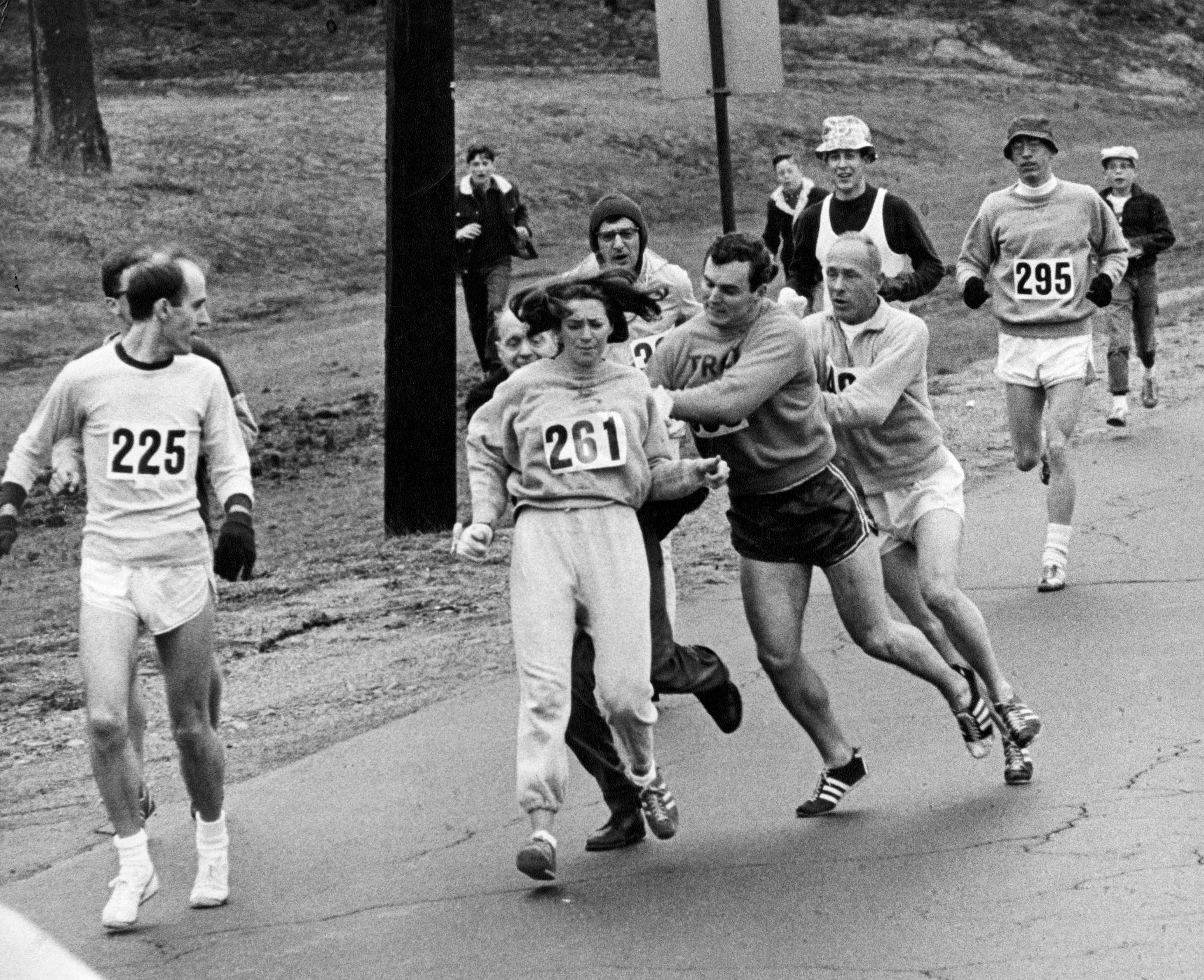 """Kathrine Switzer became the first woman to """"officially"""" run the Boston Marathon on April 19, 1967. (Getty/ FC)"""