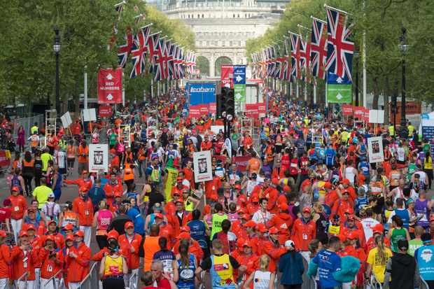 LONDON, UNITED KINGDOM - APRIL 23: Runners post finish line area of Virgin Money London Marathon in London, England on April 23, 2017.                                                                                                        (Photo by Ray Tang/Anadolu Agency/Getty Images)