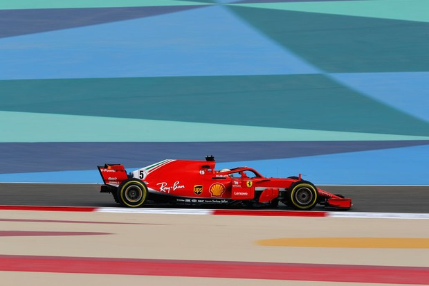 BAHRAIN, BAHRAIN - APRIL 06: Sebastian Vettel of Germany driving the (5) Scuderia Ferrari SF71H on track during practice for the Bahrain Formula One Grand Prix at Bahrain International Circuit on April 6, 2018 in Bahrain, Bahrain.  (Photo by Mark Thompson/Getty Images)