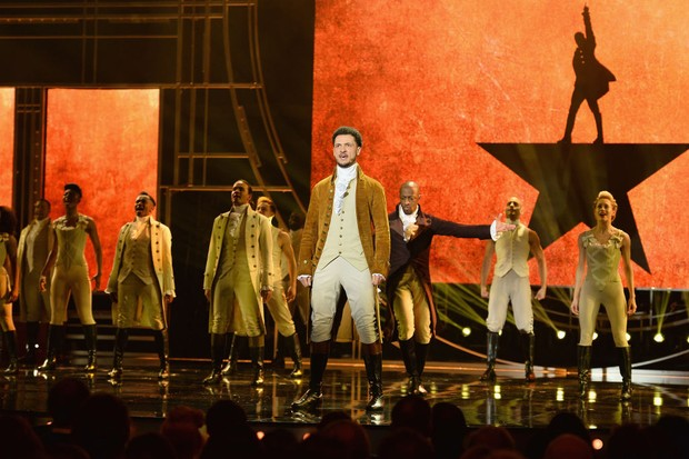 LONDON, ENGLAND - APRIL 08:  The cast of Hamilton perform on stage during The Olivier Awards with Mastercard at Royal Albert Hall on April 8, 2018 in London, England.  (Photo by Jeff Spicer/Getty Images)