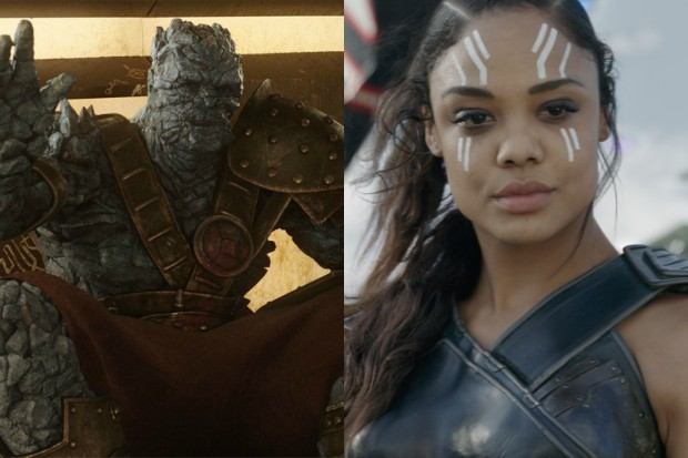 Korg (Taika Waititi) and Valkyrie (Tessa Thompson) in Thor: Ragnarok (Marvel, HF)