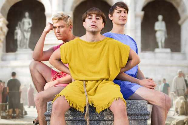 From Rise Films  Plebs: SR4 on ITV2  Pictured: Jason [Jonathan Pointing], Grumio [Ryan Sampson] and Marcus [Tom Rosenthal].  This photograph is (C) Rise Films and can only be reproduced for editorial purposes directly in connection with the programme or event mentioned above, or ITV plc. Once made available by ITV plc Picture Desk, this photograph can be reproduced once only up until the transmission [TX] date and no reproduction fee will be charged. Any subsequent usage may incur a fee. This photograph must not be manipulated [excluding basic cropping] in a manner which alters the visual appearance of the person photographed deemed detrimental or inappropriate by ITV plc Picture Desk.  This photograph must not be syndicated to any other company, publication or website, or permanently archived, without the express written permission of ITV Plc Picture Desk. Full Terms and conditions are available on the website www.itvpictures.co.uk  For further information please contact: james.hilder@itv.com / 0207 157 3052  ITV, TL