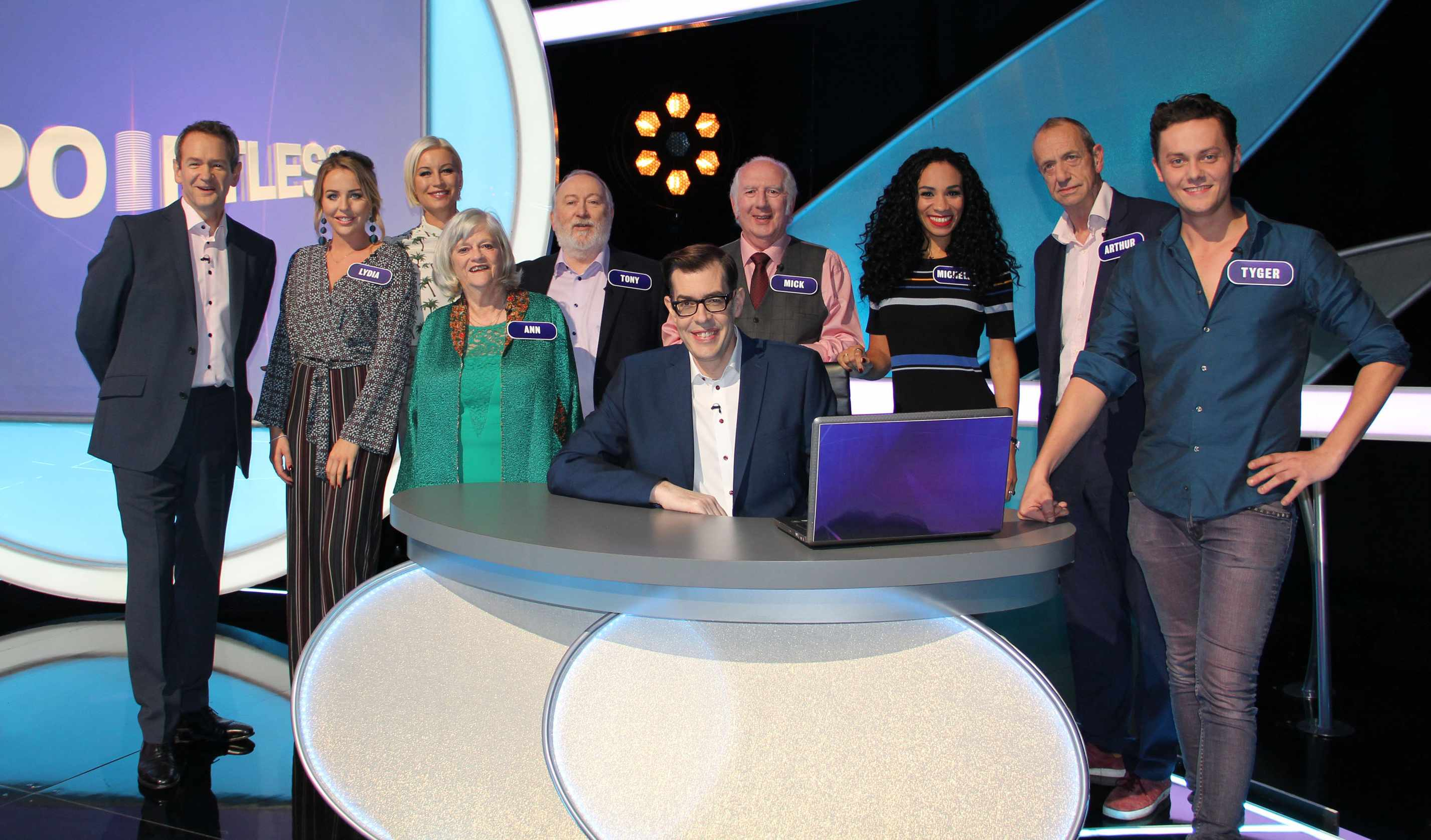 Programme Name: Pointless Celebrities - TX: 28/04/2018 - Episode: Celebrity Special (No. Celebrity Special) - Picture Shows: (L-R) Alexander Armstrong, Lydia Bright, Denise Van Outen, Anne Widdecomb, Tony Allen, Richard Osman, Mick Foster, Michelle Ackerley, Arthur Smith, Tyger Drew-Honey - (C) Endemol Shine Group - Photographer: Jack Barnes