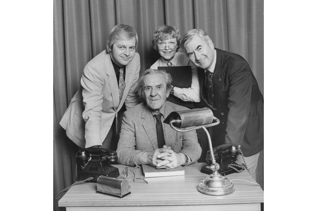 Portrait of actors (L-R) Ian Lavendar, John Le Mesurier, Vivienne Martin and Bill Pertwee, photographed for Radio Times in connection with the BBC Radio 2 sitcom 'It Sticks Out Half A Mile', 1983. First printed in Radio Times issue 3131, page 20, November 10th 1983. (Photo by Chris Ridley/Radio Times/Getty Images)