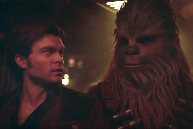 Alden Ehrenreich as Han Solo and Joonas Suotamo as Chewbacca in Solo: A Star Wars story (Lucasfilm, HF)