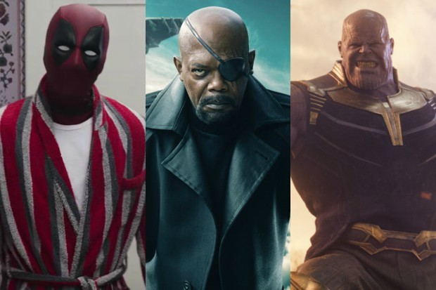 Ryan Reynolds as Deadpool, Samuel L Jackson as Nick Fury and Josh Brolin as Thanos (Marvel, 20th Century Fox, HF)
