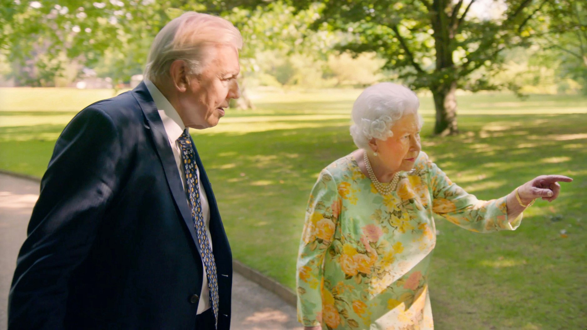 Sir David Attenborough joins Her Majesty the Queen in the gardens of Buckingham Palace (ITV, EH)